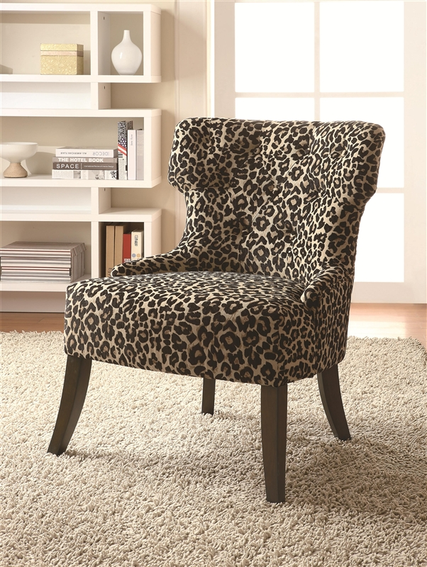 Leopard Print Fabric Accent Chair By Coaster 902066