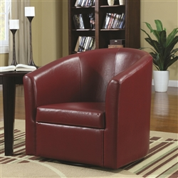 Swivel Accent Chair in Red Vinyl Upholstery by Coaster - 902099