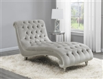 Grey Velvet Chaise by Coaster - 905468