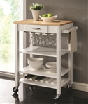 Kitchen Cart White and Natural Finish by Coaster - 910025