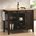 Kitchen Island Kitchen Cart Cappuccino and Natural Finish by Coaster - 910028