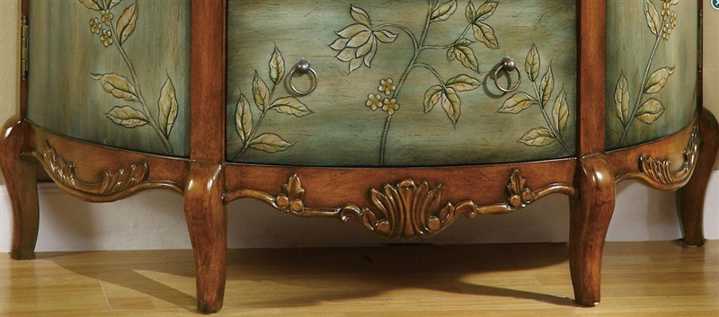 Antique Demilune Accent Cabinet With Floral Detailing By Coaster   950115