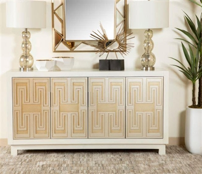 60 Inch Accent Cabinet in White, Gold and Silver Finish by Coaster - 953416
