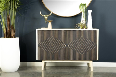43 Inch Accent Cabinet in Washed White and Black Finish by Coaster - 953430
