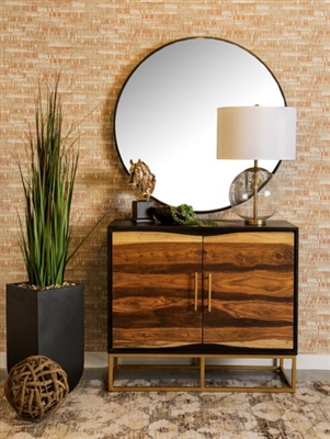 Accent Cabinet in Black and Walnut Finish by Coaster - 953447