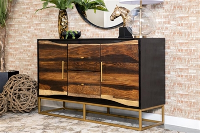 57 Inch Accent Cabinet in Black and Walnut Finish by Coaster - 953466
