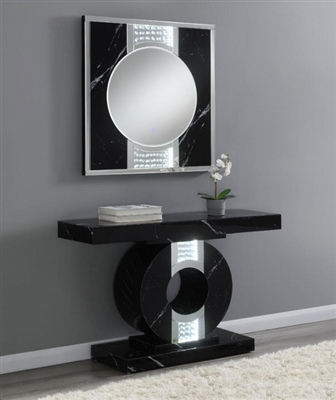 Faux Black Marble Console Table by Coaster - 953480