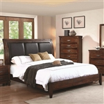 Noble Panel Upholstered Bed in Rustic Oak Finish by Coaster - B219-30-B
