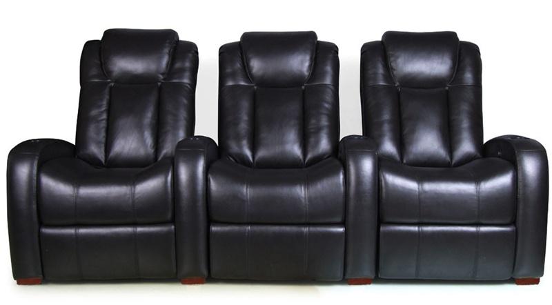 Astonishing Bijou Theater Seating 3 Black Leather Chairs By Rowone Electric Recline 8143 Uwap Interior Chair Design Uwaporg