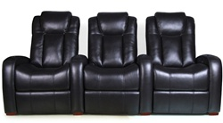 Bijou Theater Seating - 3 Black Leather Chairs By RowOne - Electric Recline - 8143