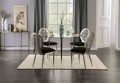 Abner 5 Piece Round Table Dining Room Set in Silver/Black Finish by Furniture of America - FOA-3743-R