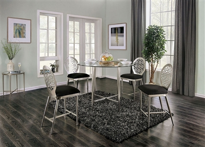 Abner 5 Piece Counter Height Round Table Dining Set in Silver Finish by Furniture of America - FOA-3743PT
