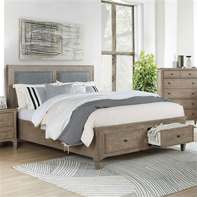 Anneke Bed in Wire-Brushed Warm Gray Finish by Furniture of America - FOA-7173-B