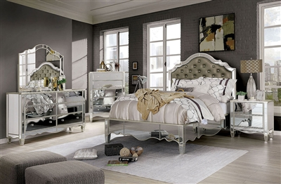 Eliora 6 Piece Bedroom Set in Silver Finish by Furniture of America - FOA-7890
