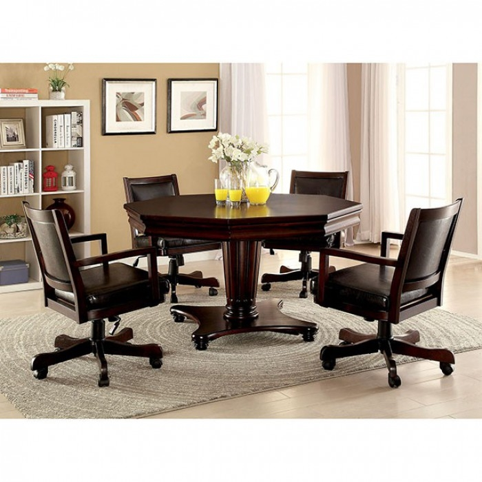 Raelle 5 Piece Game Table Set In Dark Cherry By Furniture Of America    FOA CM GM341T