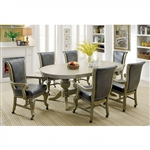 Melina 7 Piece Game Table Set in Gray by Furniture of America - FOA-CM-GM367GY-T