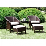 Malinda 5 Piece Patio Chair Set in Espresso by Furniture of America - FOA-CM-OT1846-5PK