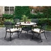 Charissa 5 Piece Round Patio Dinning Table Set in Antique Black by Furniture of America - FOA-CM-OT2125-RT