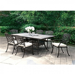 Charissa 7 Piece Patio Dinning Table Set in Antique Black by Furniture of America - FOA-CM-OT2125-T