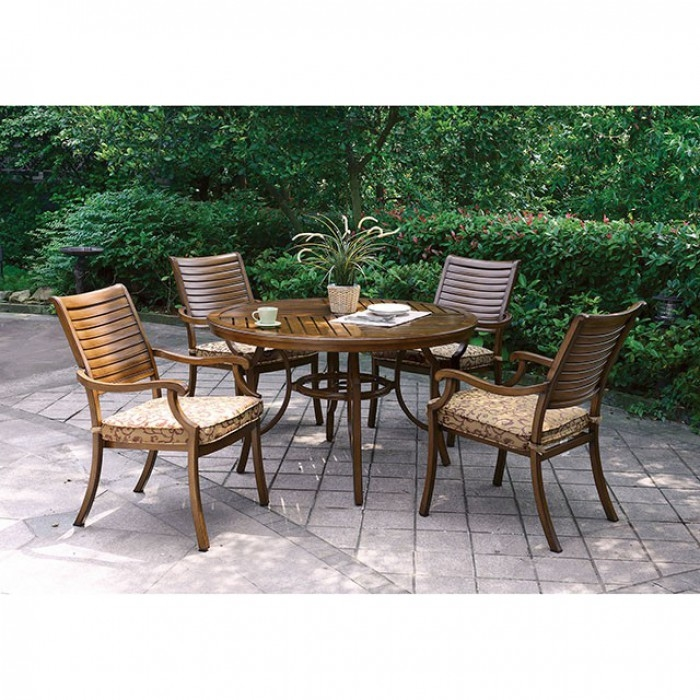 Desiree Furniture Inside Desiree Piece Round Patio Dinning Table Set In Brown By Furniture Of America