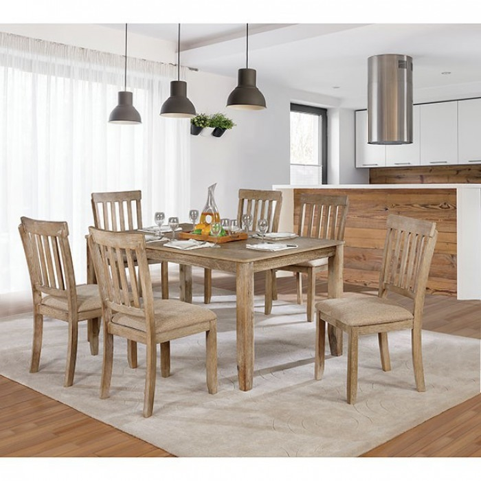 Cool Kiara 7 Piece Dining Room Set In Wire Brushed Natural Tone Finish By Furniture Of America Foa Cm3010T 7Pk Uwap Interior Chair Design Uwaporg