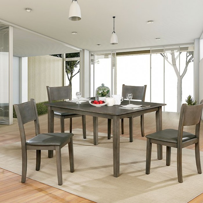 Fabulous Marcia 5 Piece Dining Room Set In Gray Finish By Furniture Of America Foa Cm3031T 5Pk Home Interior And Landscaping Transignezvosmurscom