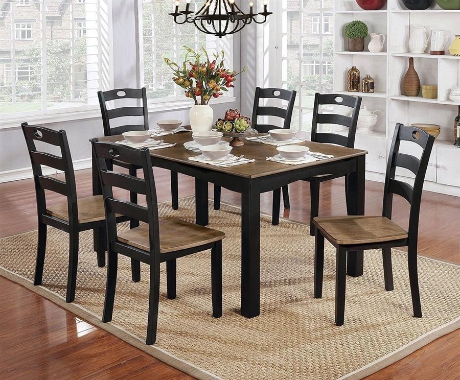 Liliana 7 Piece Dining Room Set In Black Light Oak Finish By Furniture Of America Foa Cm3107bk T
