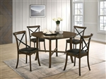 Buhl I 5 Piece Round Table Dining Room Set in Burnished Oak Finish by Furniture of America - FOA-CM3148-R