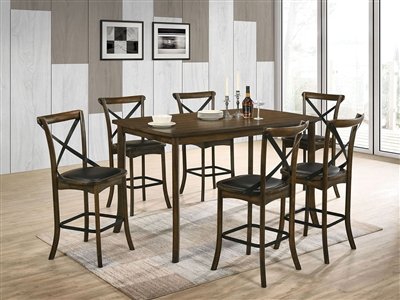 Buhl I 7 Piece Counter Height Dining Set in Burnished Oak Finish by Furniture of America - FOA-CM3148PT