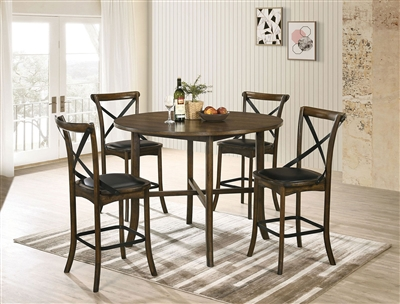Buhl I 5 Piece Counter Height Round Table Dining Set in Burnished Oak Finish by Furniture of America - FOA-CM3148RPT