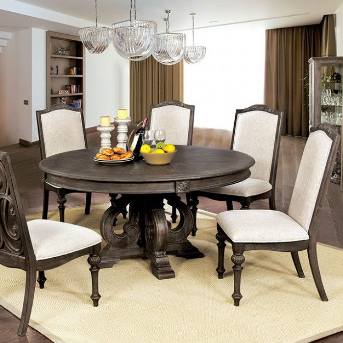 Arcadia 7 Piece Round Dining Table Set By Furniture Of America Foa Cm3150r