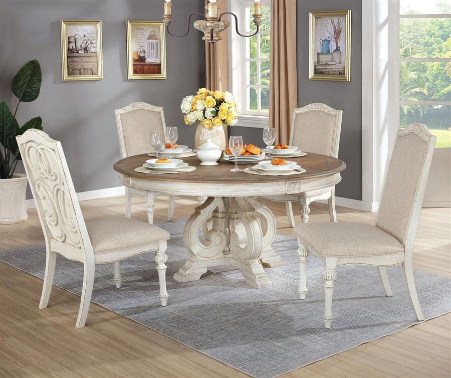 Arcadia 5 Piece Round Table Dining Room, 5 Piece Dining Set Round Table