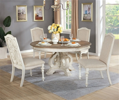 Arcadia 5 Piece Round Table Dining Room Set in Antique White Finish by Furniture of America - FOA-CM3150WH-R