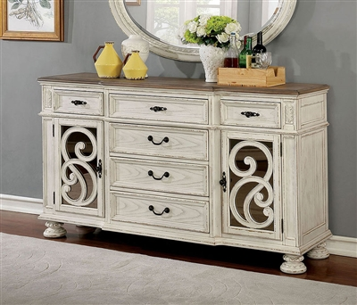 Arcadia Server in Antique White Finish by Furniture of America - FOA-CM3150WH-SV