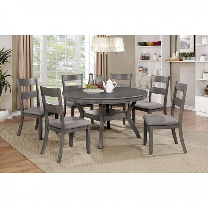 Juniper 7 Piece Round Table Dining Room Set In Gray Finish By Furniture Of America Larger Photo
