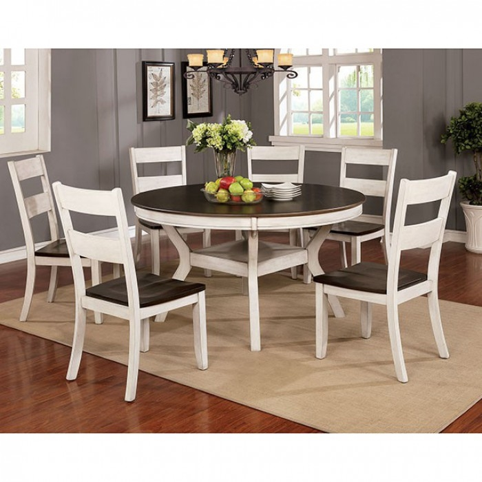 Juniper 7 Piece Round Table Dining Room Set In Antique White Dark Oak Finish By Furniture Of America Foa Cm3162wh Rt