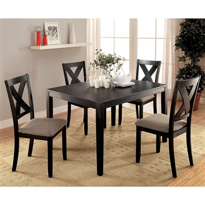 Glenham 5 Piece Dining Room Set in Brushed Black Finish by Furniture of America - FOA-CM3175T-5PK