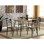 Banbury 5 Piece Dining Room Set in Gray & Dark Bronze Finish by Furniture of America - FOA-CM3279T-43-5PK