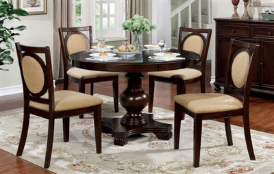 Abergele 5 Piece Round Dining Room Set in Brown Cherry Finish by Furniture of America - FOA-CM3306RT