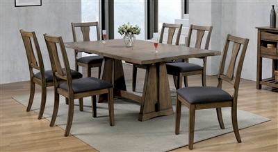 Benllech 7 Piece Dining Room Set in Light Oak Finish by Furniture of America - FOA-CM3309