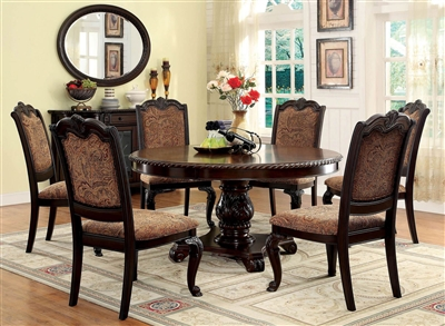 Bellagio 5 Piece Round Dining Table Set with Fabric Chair by Furniture of America - FOA-CM3319RTF