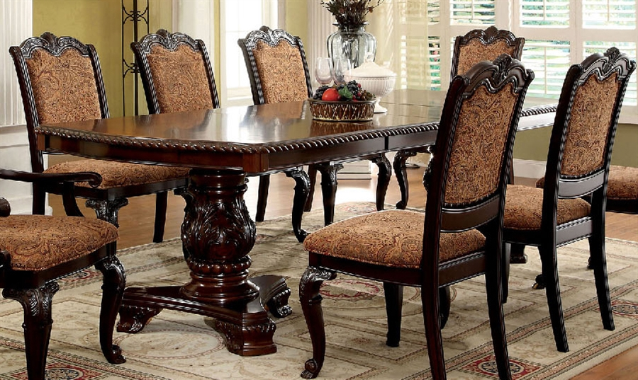 Bellagio 7 Piece Dining Table Set With Fabric Chair By Furniture Of America Foa Cm3319tf