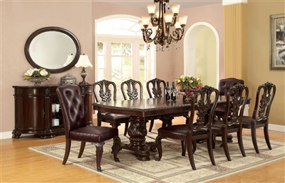 Bellagio 7 Piece Dining Table Set with Wooden Chair by Furniture of America - FOA-CM3319TW