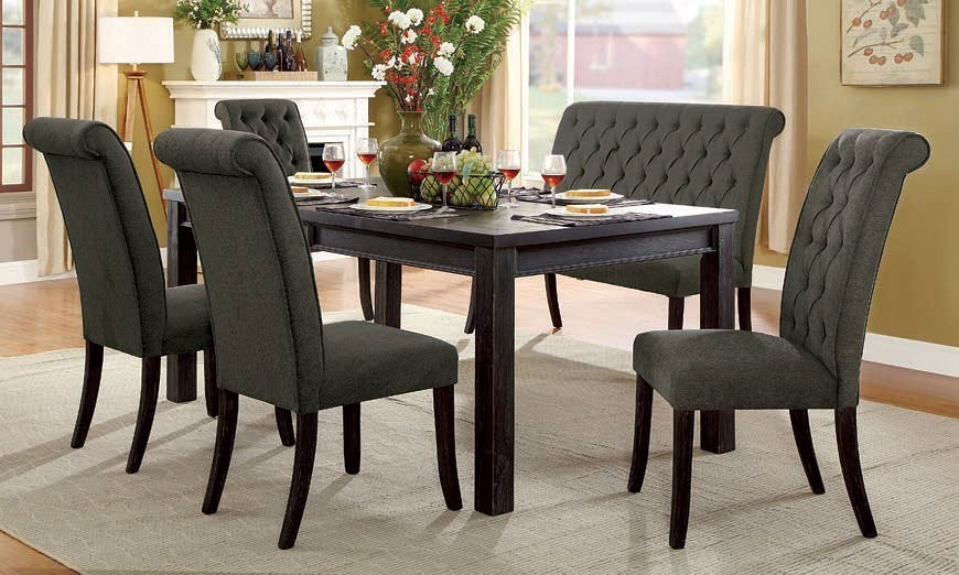 Sania I 6 Piece Dining Room Set with Gray Chair and Bench by Furniture of  America - FOA-CM3324BK-T-72-GRAY