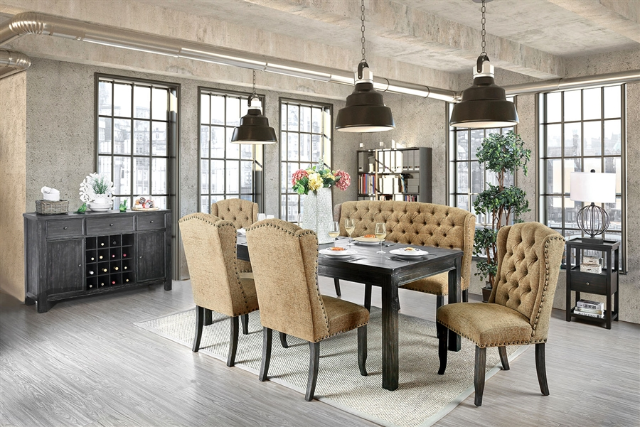 Sania I 6 Piece Dining Room Set with Gold Chair and Bench by Furniture of  America - FOA-CM3324BK-T-84-GOLD