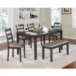 Gloria 6 Piece Dining Room Set in Gray Finish by Furniture of America - FOA-CM3331GY-T-6PK