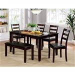 Gloria 6 Piece Dining Room Set in Brown Cherry Finish by Furniture of America - FOA-CM3331T-6PK