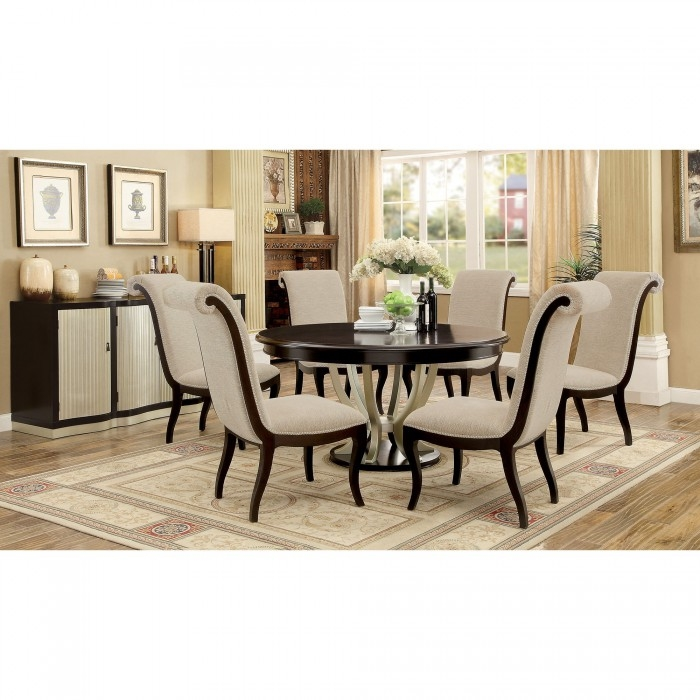 Ornette 7 Piece Round Table Dining Room Set By Furniture Of America Foa Cm3353rt
