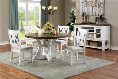 Auletta 5 Piece Dining Room Set in Distressed White/Distressed Dark Oak Finish by Furniture of America - FOA-CM3417RT-5PK
