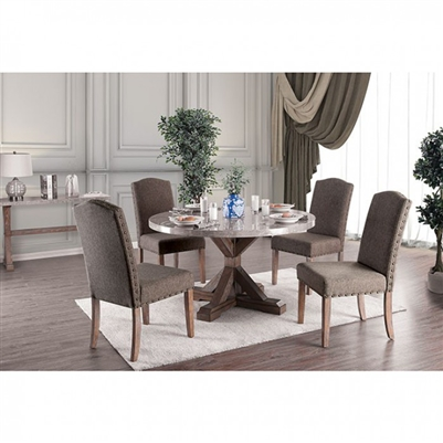 Bridgen 5 Piece Round Table Dining Room Set in Natural Finish by Furniture of America - FOA-CM3429RT